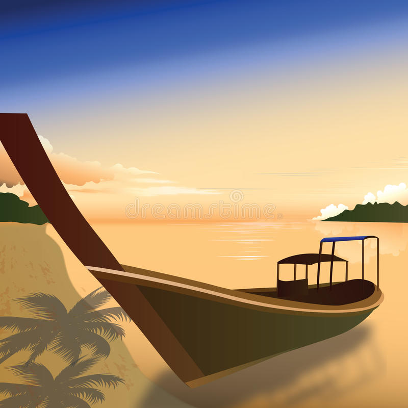 Boat at backwaters, kerala stock illustration