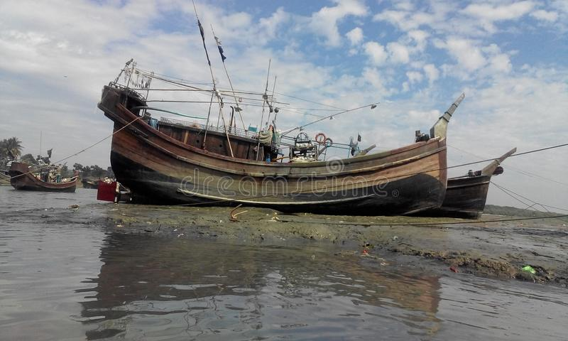 BOAT. Bangladeh,largest sea beach cox- bazar royalty free stock photo