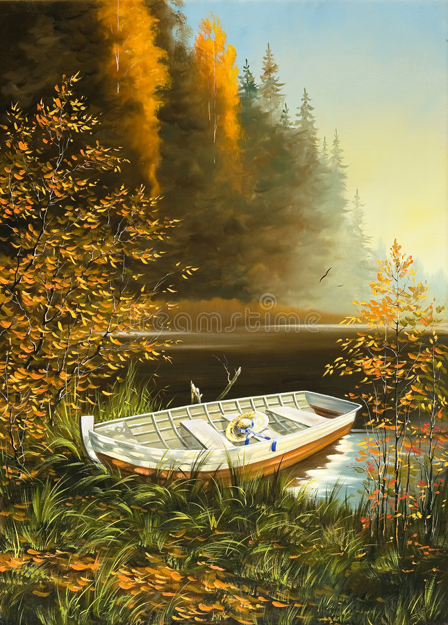 Boat on the bank of lake stock illustration