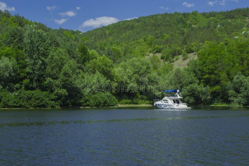 Boat in the bay stock photo