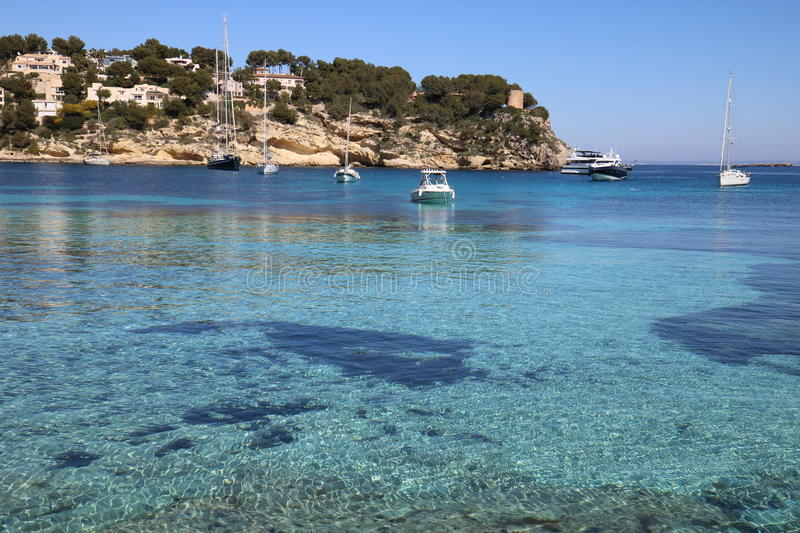 Boat in a bay on Mallorca stock photography