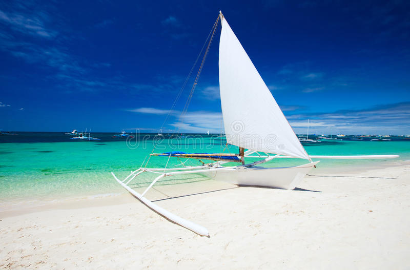 Boat at beach royalty free stock photo
