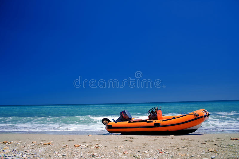 Boat on the beach stock image