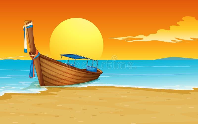 Boat on beach royalty free illustration