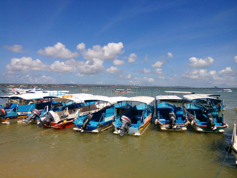 Boat on the beach at benoa bali royalty free stock photography