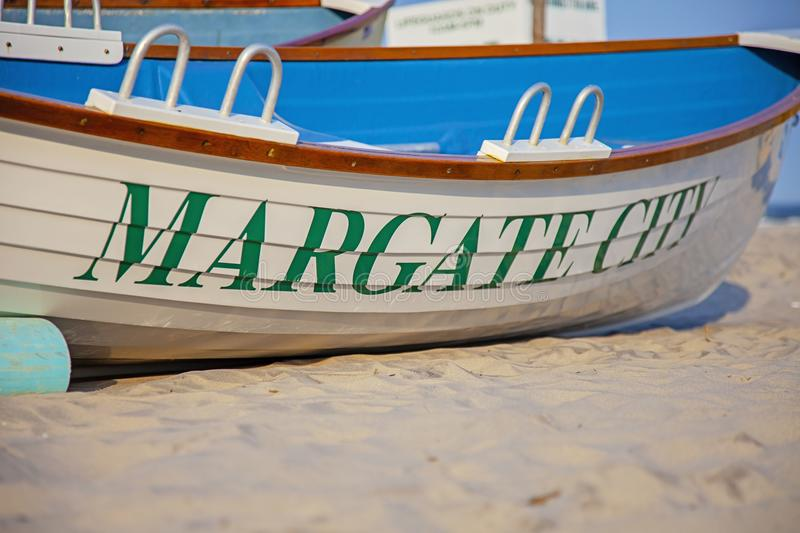 Boat on the beach in Margate New Jersey stock photo