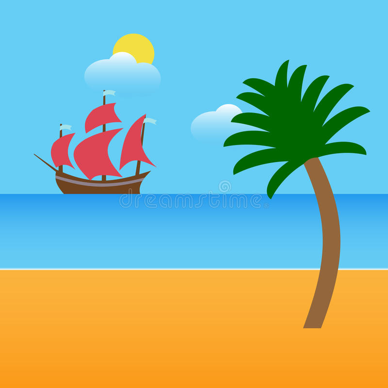 Boat on beach with palm and clouds. Vector illustration royalty free stock photos