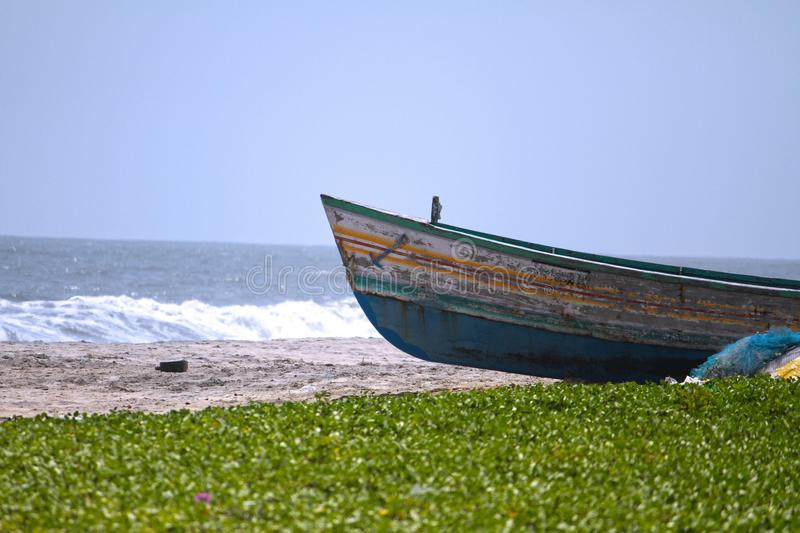 Boat on a Beach stock images