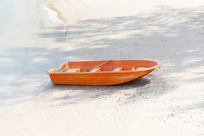 Boat on beach summer ocean background sea sandy beautiful stock photography