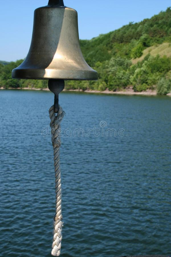 Boat bell on a boat stock photo