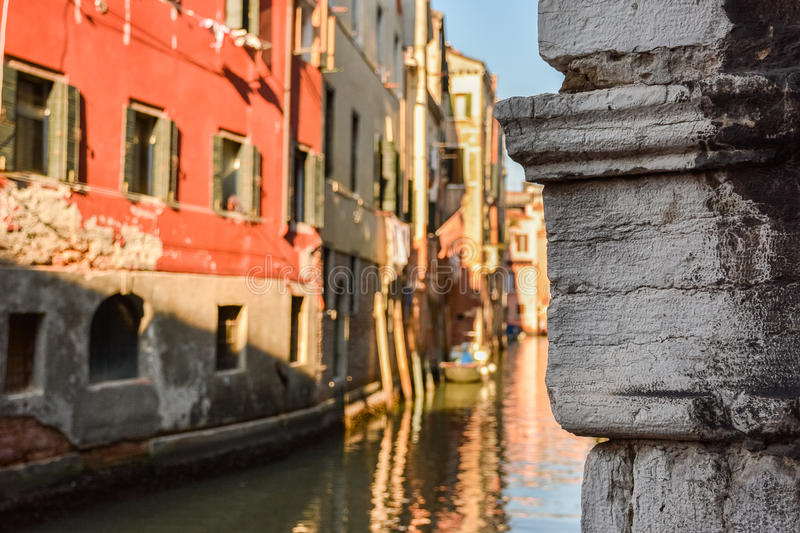 Boat. Black and White Photography with Color. Small canals in Venice in Italian: Venezia, Venetian: Venexia is a city in northern Italy known both for tourism royalty free stock image