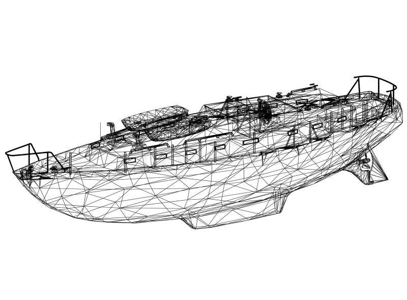 Boat blueprint – 3D perspective vector illustration