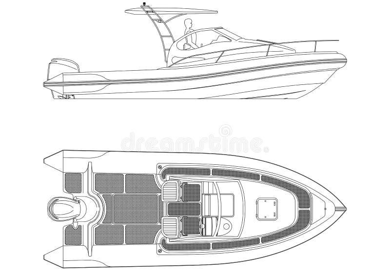 Boat blueprint - isolated royalty free illustration
