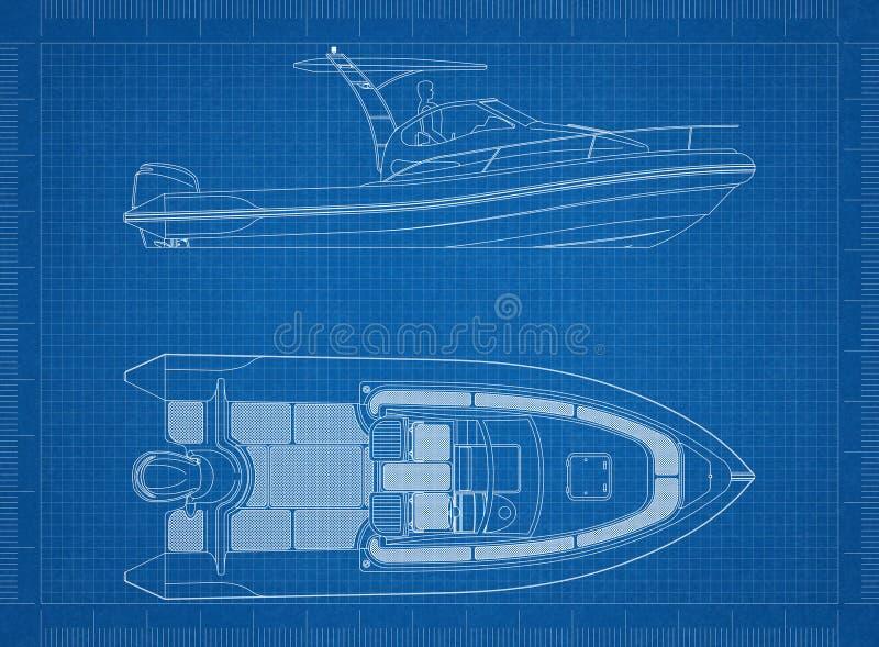 Boat blueprint stock illustration