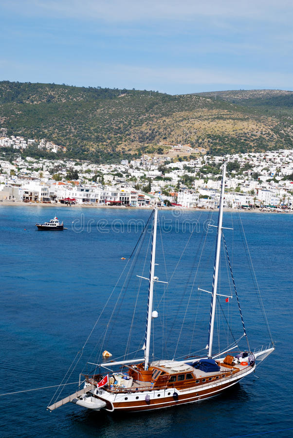 Boat of Bodrum. Tourism in Bodrum in Turkey royalty free stock image