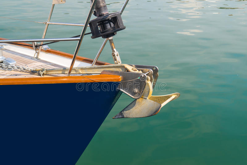 Boat bow sailing in blue Mediterranean sea in summer vacation. Greece royalty free stock image