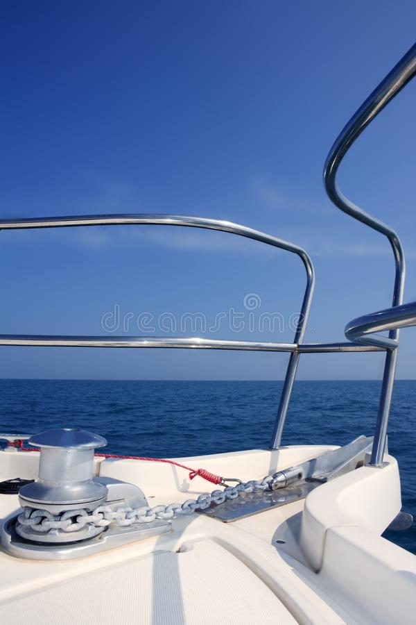 Free Boat Bow Sailing Sea With Anchor Chain Winch Royalty Free Stock Photos - 14553658