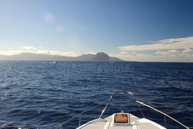 Boat bow, yatch on the blue ocean stock photography