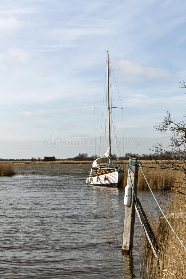 Boat on the Broads. A boat moored up in Horsey Mere part of the Norfolk Broads, East Anglia UK, beautiful, bright, color, image, day, holiday, idyllic, , journey royalty free stock photo