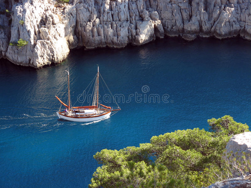 Boat in the calanques of Marseille stock photos