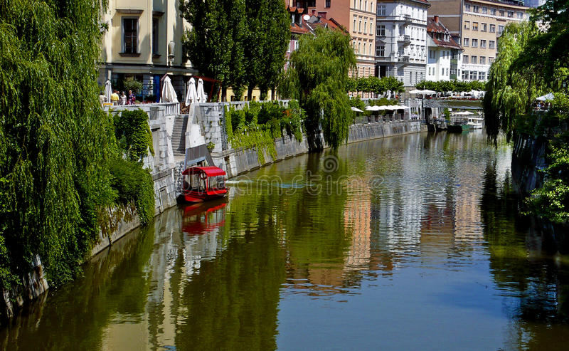 Boat on Canal, Ljubljana, Slovenia royalty free stock images