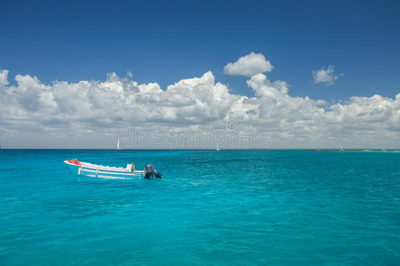 Boat in caribbean sea stock photography
