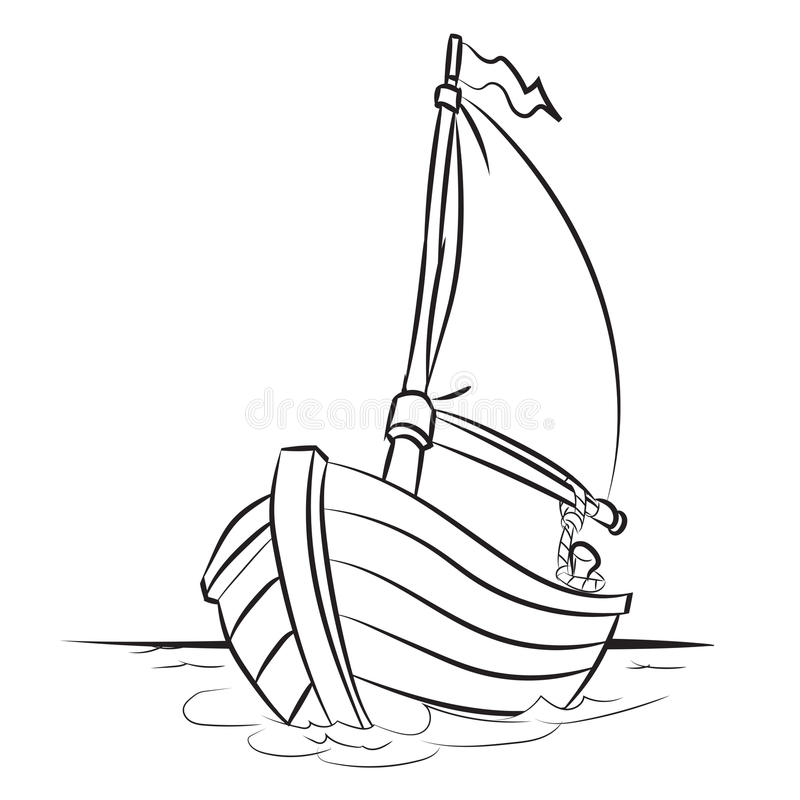 Boat Cartoon - Line Drawn Vector. Hand drawn sketch of Boat isolated, Black and White Cartoon Vector Illustration for Coloring Book - Line Drawn Vector royalty free illustration