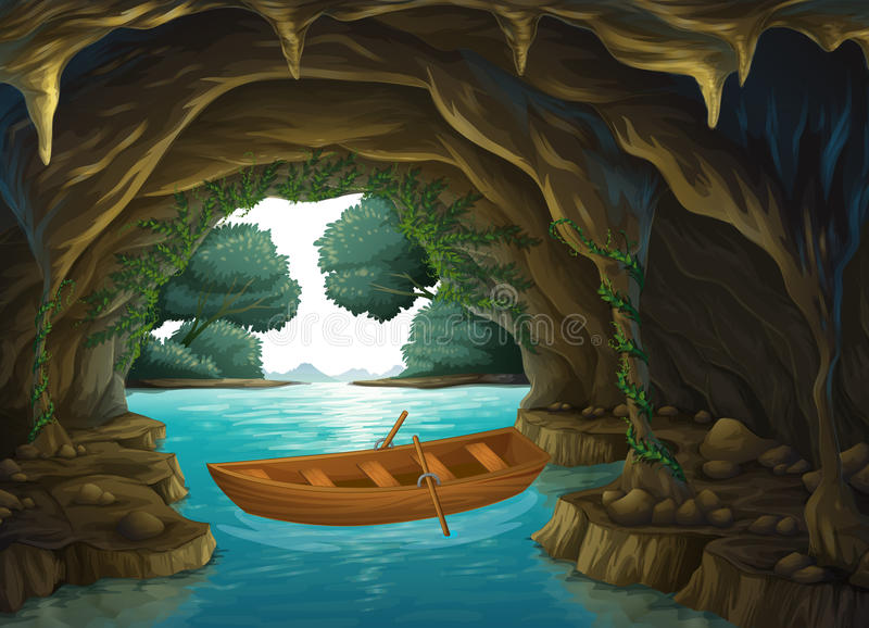 A boat in the cave. Illustration of a boat in the cave stock illustration