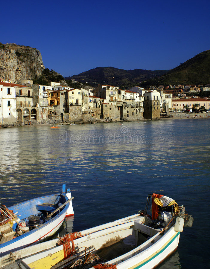 Boat in cefalu royalty free stock photos