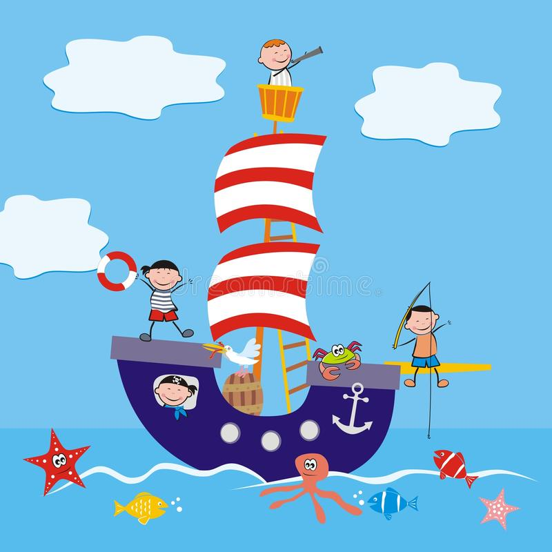 Boat and children. Sailboat, children and animals at sea. Illustration for the children stock illustration