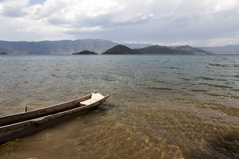 Download Boat on Clear Lake stock image. Image of wooden, hill - 31283125