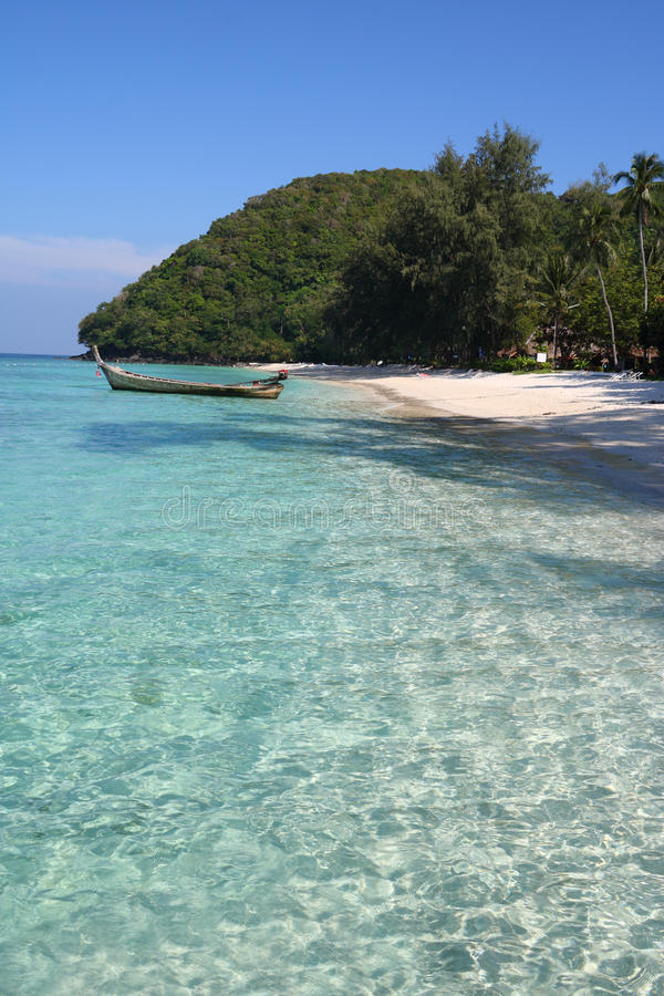Download Boat On The Clear Water, Beach And Trees Stock Photos - Image: 14590563