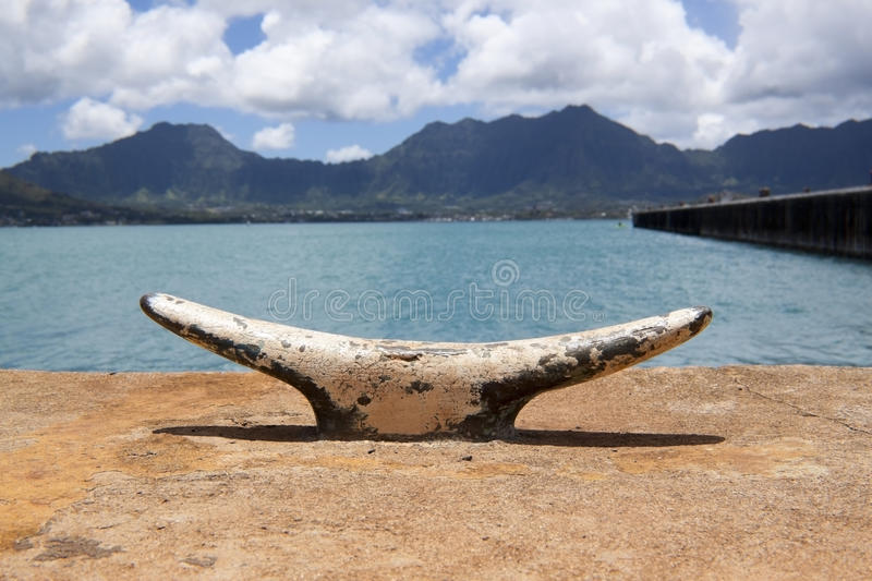 Boat Cleat With Mountain Background Royalty Free Stock Photos