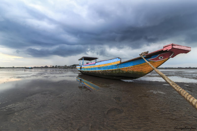 Boat clouds royalty free stock images
