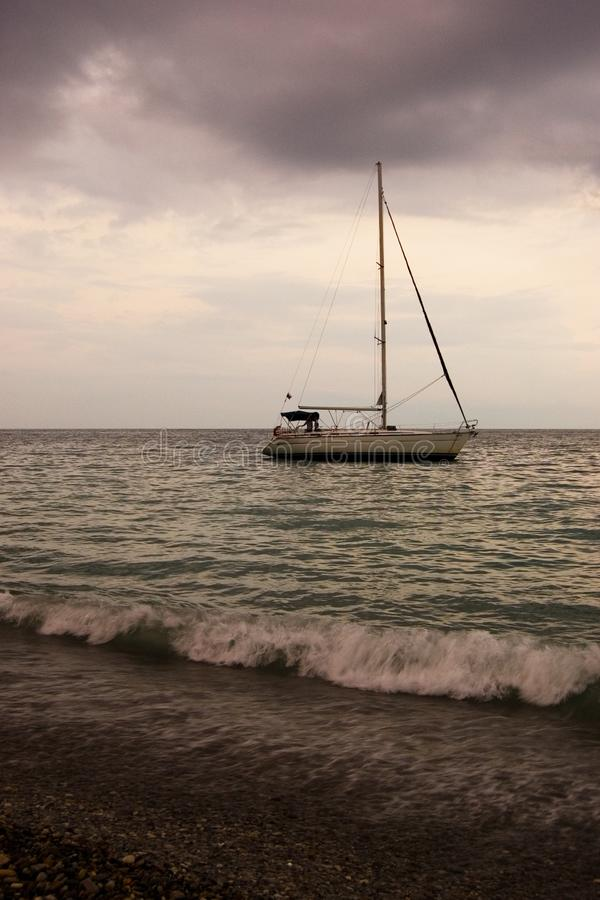 Download Boat in cloudy weather stock image. Image of ship, wave - 13596345