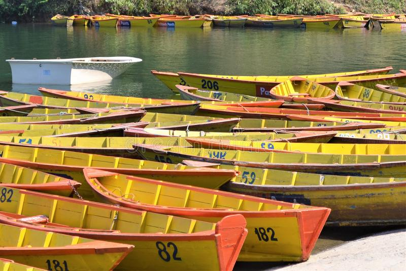 Boat Collection in Pokhara stock photo