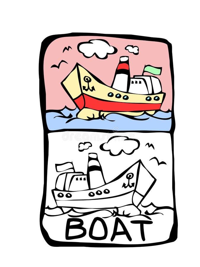Boat coloring book stock illustration. Illustration of fetch - 6444396