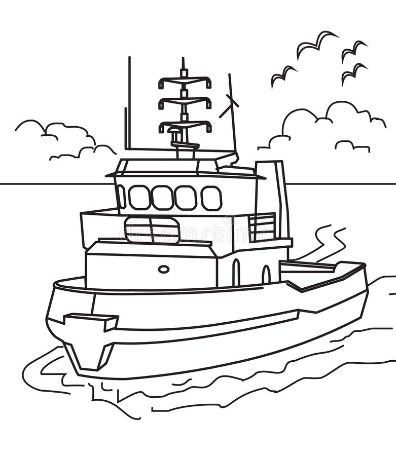 Boat coloring page. Hand drawn boat ship coloring page for kids royalty free illustration