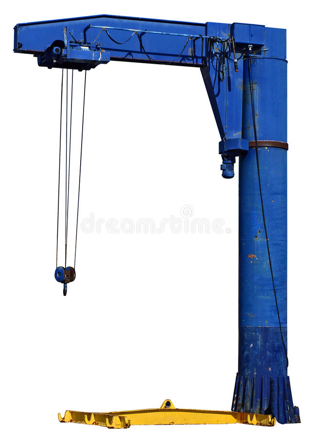 Boat Crane Isolated On A Clear background With PNG File attached. A crane hoist that is used in boatyards for putting vessels in and out of the water. Clear royalty free stock images