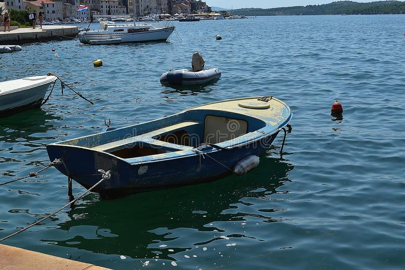 Boat in the Croatia in Å ibenik stock photography