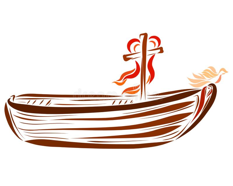 A boat with a cross, a bird and a heart.  stock illustration