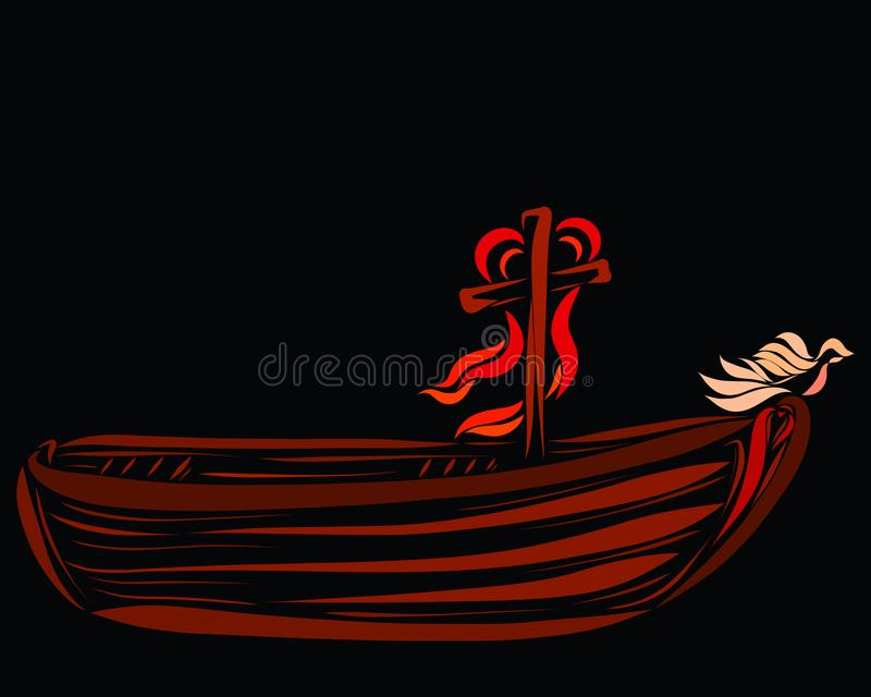 A boat with a cross, a heart and a dove.  royalty free illustration
