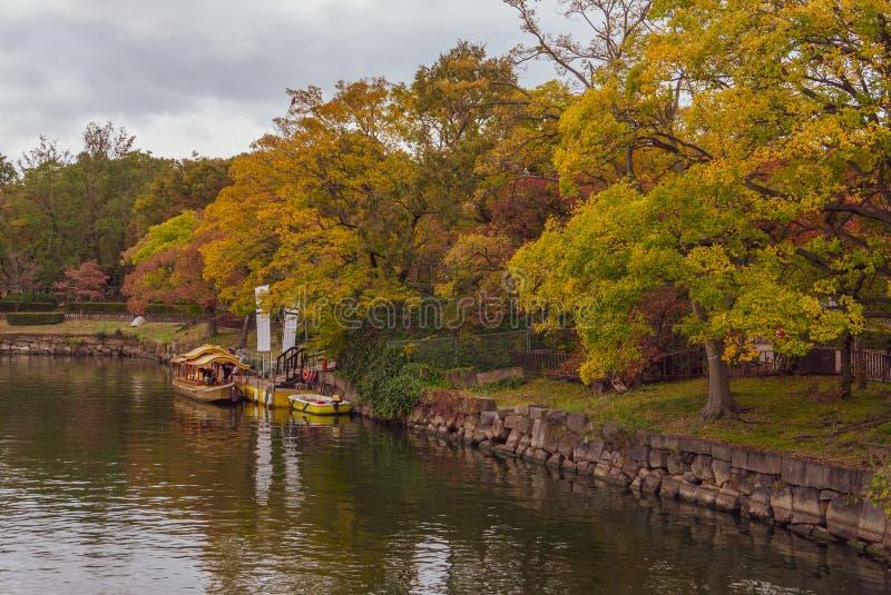 Boat cruise at Osaka Castle Complex in autumn season in Osaka stock photography