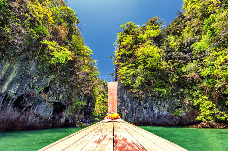 Boat cruise in Thailand near Phuket island. Beautiful tropical nature in lagoon with scenic rock mountains stock photos