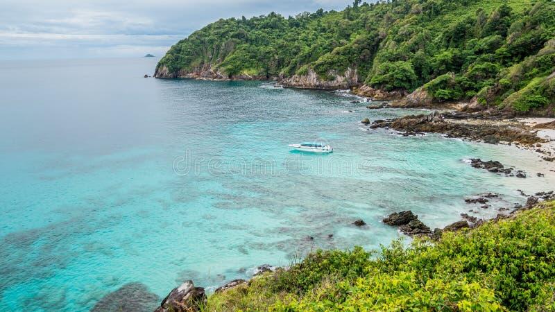 Boat cruising in Andaman sea tropical beach, Myanmar sea.  stock photo