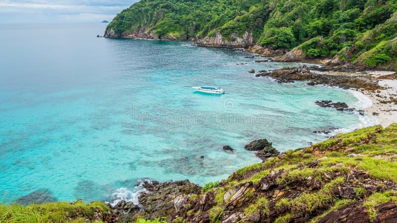 Boat cruising in Andaman sea tropical beach, Myanmar sea.  stock photography