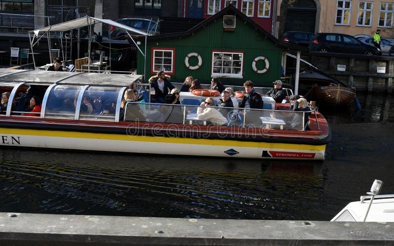Boat crusing and visitors day on Christianshavn canal royalty free stock image