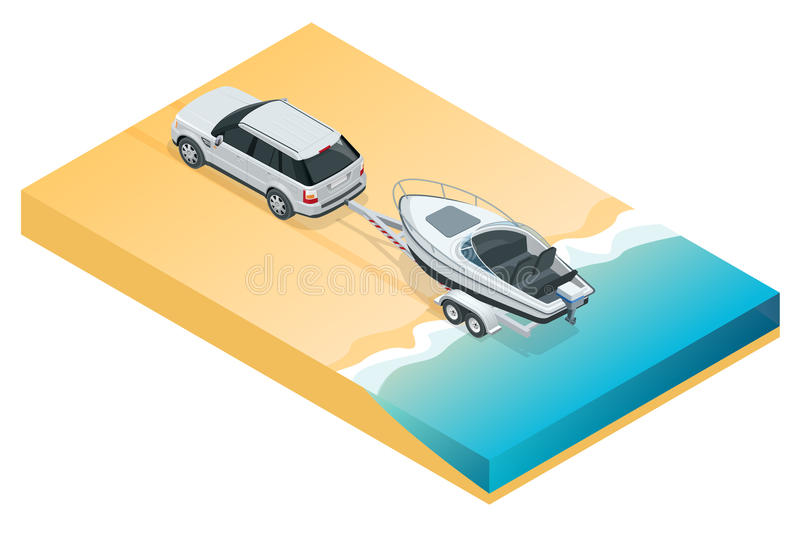 Boat or cutter on a trailer. The launching of a small motor boat at a ramp. Flat 3d isometric high quality water. Transport vector illustration