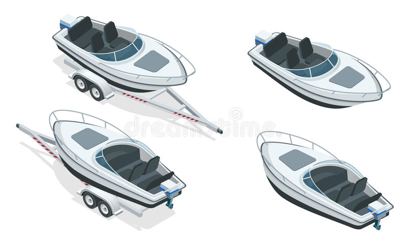 Boat or cutter on a trailer. The launching of a small motor boat at a ramp. Flat 3d isometric high quality water. Transport royalty free illustration
