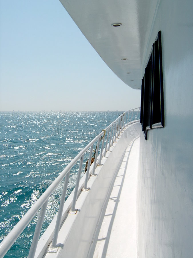 Boat deck. White boat deck stock photography